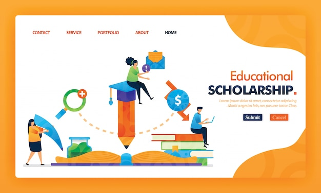 Educational scholarship landing page yellow vector concept.