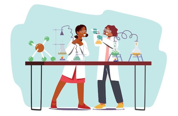어린이를 위한 교육 과학 활동. 실험실에서 학교 어린이 캐릭터는 화학 실험실에서 화학 물질 및 장비로 과학 실험을 수행합니다. 만화 사람들 벡터 일러스트 레이 션