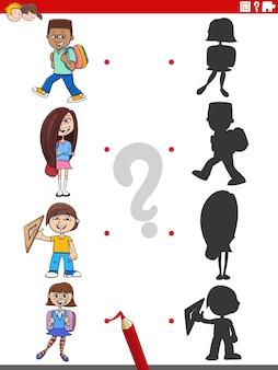 Развивающая игра теней с героями мультфильмов школьников