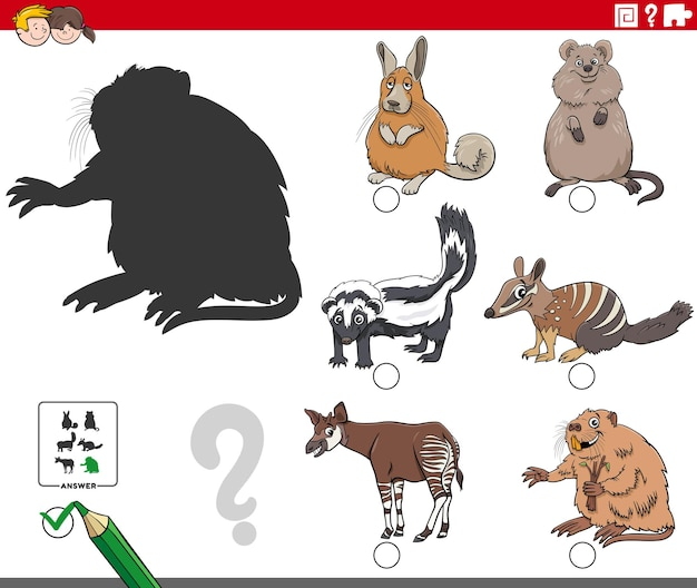 Educational shadows game with cartoon animal characters