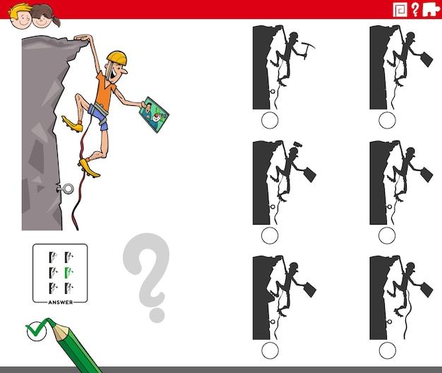 만화 산악인 캐릭터와 교육 그림자 게임