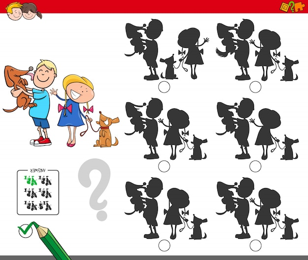 Educational silhouettes game with kids and dogs