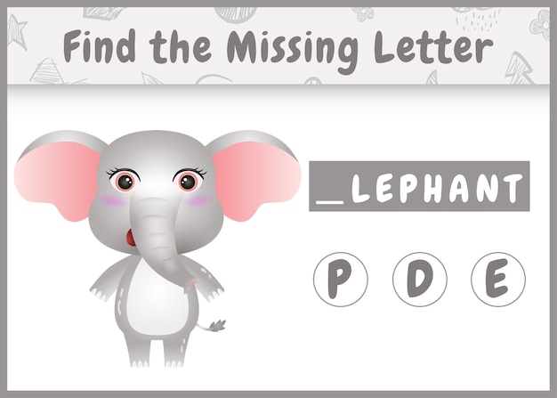 아이들을위한 교육 철자 게임은 귀여운 코끼리와 함께 누락 된 편지를 찾습니다