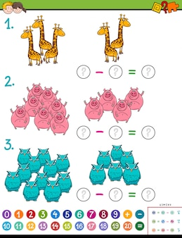 Educational subtraction task for kids with animals