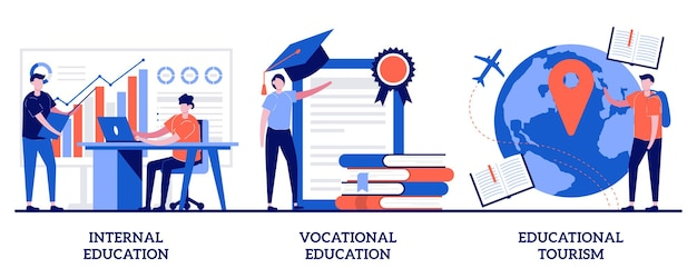Educational tourism concept with tiny people illustration