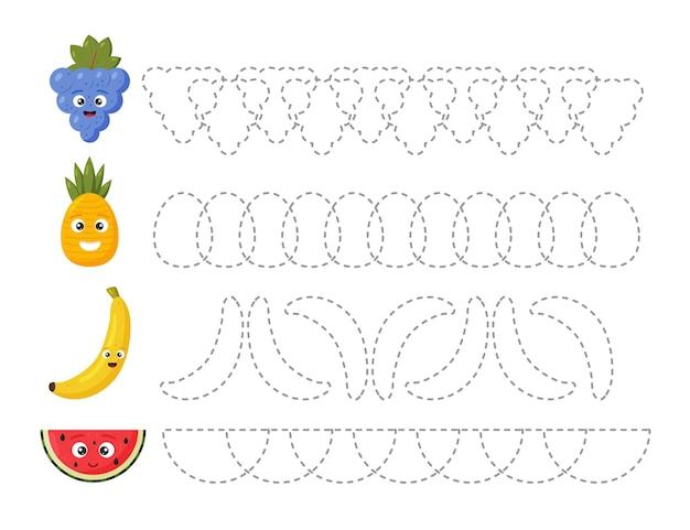 Образовательный рабочий лист для детей. проследите за плодами. пунктирные линии
