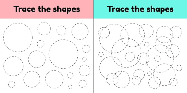 Educational tracing worksheet for kids kindergarten, preschool and school age. trace the geometric shape.  dashed lines. circle.