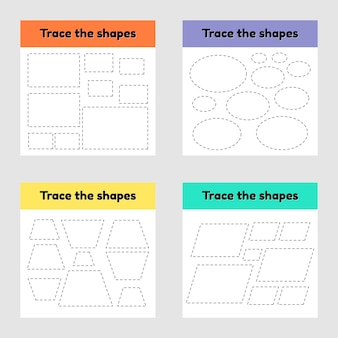 Educational tracing worksheet for kids kindergarten, preschool and school age. trace the geometric shape. dashed lines.