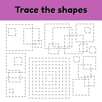Educational tracing worksheet for kids kindergarten, preschool and school age.