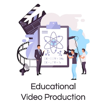 Educational video production flat concept icon. tutorial, science lecture shooting sticker, clipart. elearning, video streaming and blogging. isolated cartoon illustration on white background