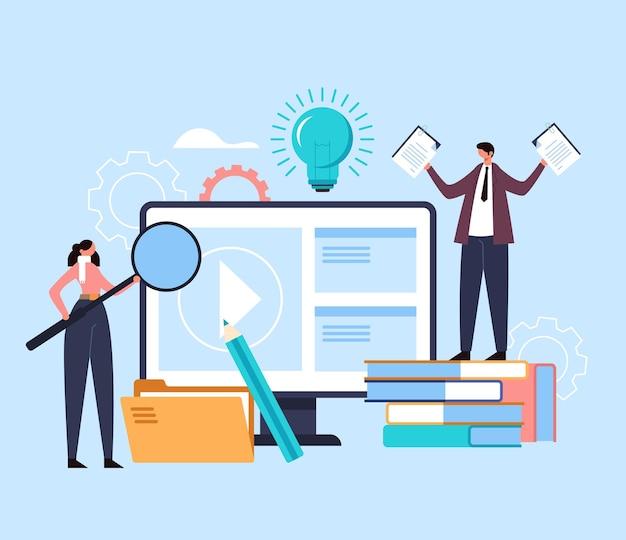 교육 웹 학습 세미나 디지털 튜토리얼 웹 세미나 개념.