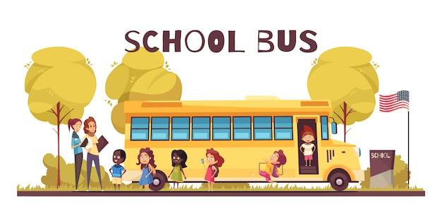Работники образования и группа школьников возле желтого автобуса на территории школы мультфильма