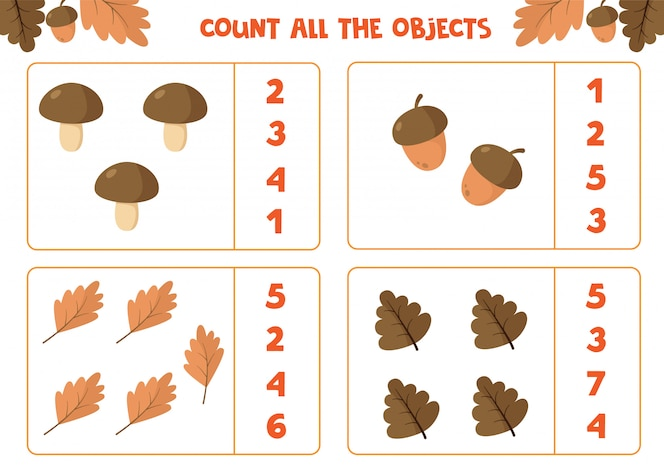 educational worksheet for children. count all the objects. math game for kids. autumn set.