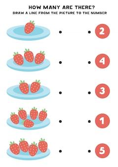 Учебный лист для дошкольников. подсчитайте количество клубники.