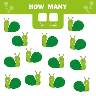 미취학 아동을 위한 교육 워크시트입니다. 왼쪽과 오른쪽입니다. 얼마나 많은 달팽이가 오른쪽과 왼쪽으로 가는지 세십시오.