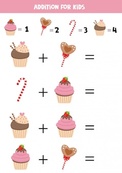 Educational worksheet for kids. addition for kids with sweets.