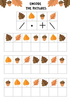 Educational worksheet for kids. encode the pictures. logic game for children. autumn set.