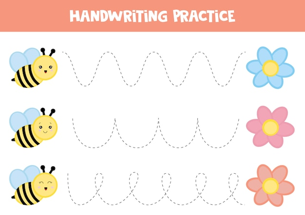 Educational worksheet for kids. tracing lines. handwriting practice. bee and flower.
