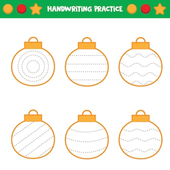 Educational worksheet for kids. tracing lines. trace the balls. handwriting practice.