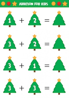Educational worksheet for preschool kids. addition for kids with christmas trees.