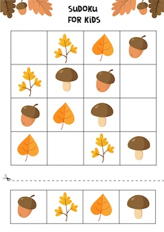 Educational worksheet for preschool kids. autumn objects.