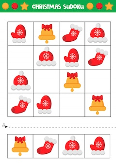 Educational worksheet for preschool kids. christmas sudoku.