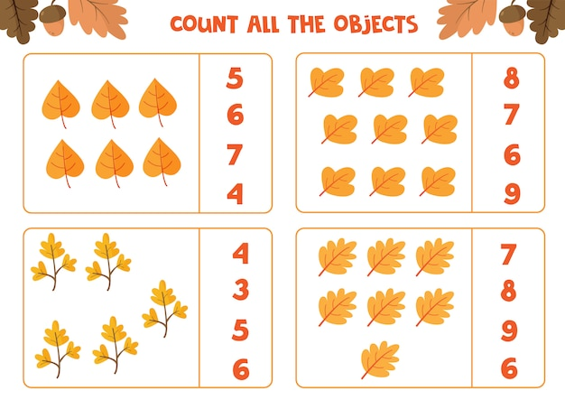 Educational worksheet for preschool kids. count all the leaves. math game