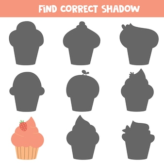 Educational worksheet for preschool kids. find correct shadow of muffin or cupcake