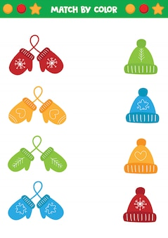 Educational worksheet for preschool kids. match mittens and caps by colors.