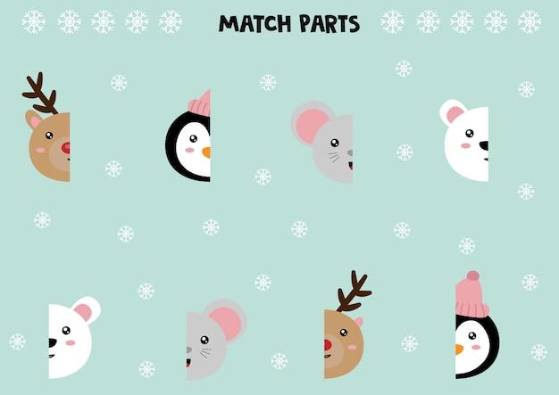 Educational worksheet for preschool kids. match parts of different cute animals.