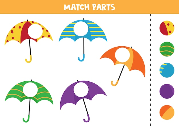 Educational worksheet for preschool kids. match parts of umbrellas.