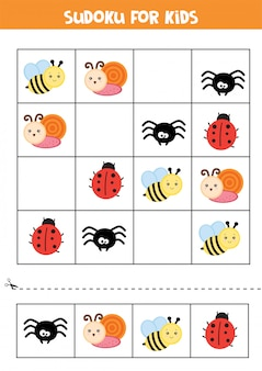 Educational worksheet for preschool kids. sudoku for kids with insects.