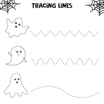 Educational worksheet for preschool kids. tracing lines with ghosts