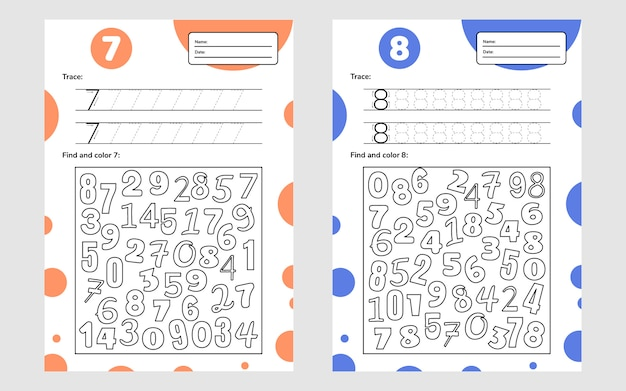 Educational worksheet for preschool and school kids. number game for children. trace, find and color. seven, eight.