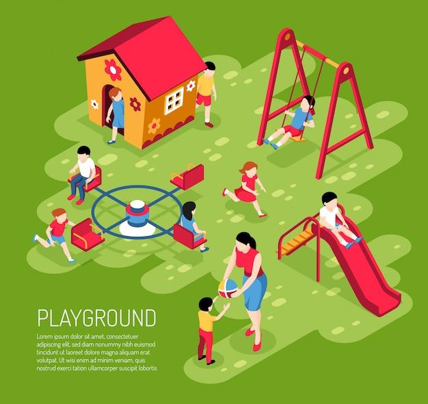 Воспитатель и дети на игровой площадке в детском саду летом на зеленой изометрии