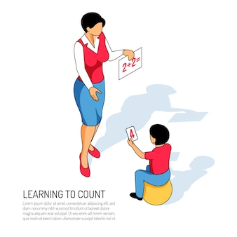 Educator and boy on ball during learning of count in kindergarten on white  isometric