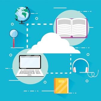 Eearining education books with laptop technology