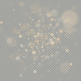 Effect of bokeh circles  on transparent background. christmas glowing warm orange glitter element that can be used.