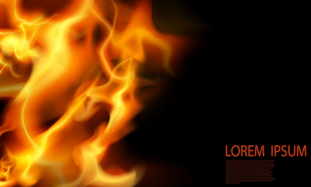 Effect burning red hot sparks realistic fire flames abstract background