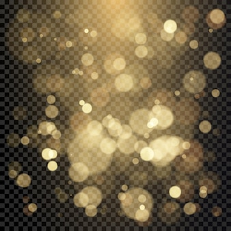 Effect of color bokeh circles. christmas glowing warm golden glitter element.  illustration isolated on transparent background