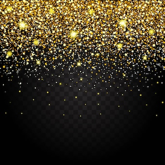 Effect of flying parts gold glitter luxury rich design background. dark background effect. stardust spark the explosion on a transparent background. luxury.