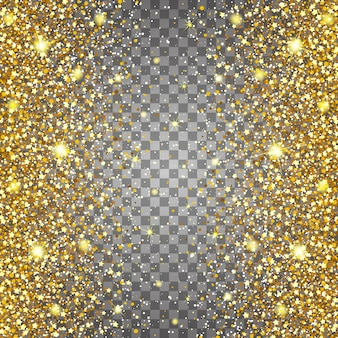 Effect of flying parts gold glitter luxury rich design background. light gray background. stardust spark the explosion on a transparent background