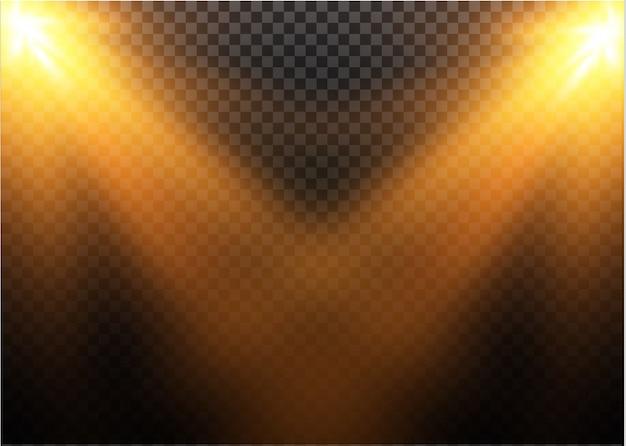 透明な日光特殊レンズフラッシュライトeffect.front太陽レンズフラッシュ。輝きの光の中でベクトルぼかし。装飾の要素。水平恒星線とサーチライト。