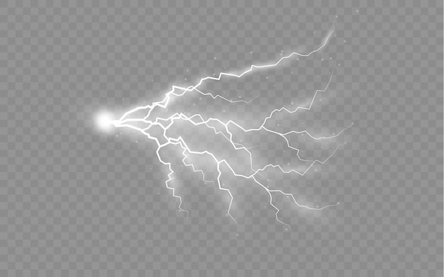 The effect of lightning and lighting set of zippers thunderstorm and lightning light and shine
