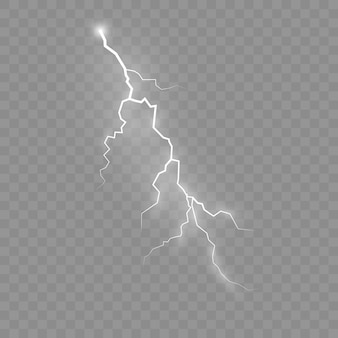 The effect of lightning and lighting, set of zippers, thunderstorm and lightning, symbol of natural strength or magic, light and shine, abstract, electricity and explosion,  illustration, eps 10
