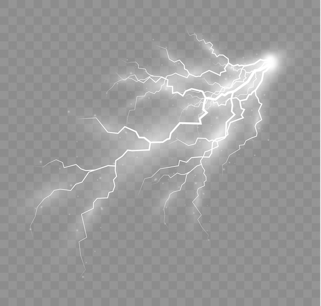 The effect of lightning and lighting set of zippers thunderstorm and lightning