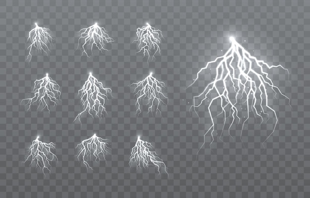 The effect of lightning and lighting, set of zippers, thunderstorm and lightning,