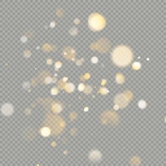투명 배경에 bokeh 원의 효과. 크리스마스 빛나는 따뜻한 오렌지 반짝이 요소를 사용할 수 있습니다.
