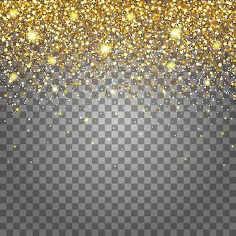 ゴールドグリッターの豪華な豪華なデザインの背景を飛んでいる部品の効果。効果の明るい灰色の背景。スターダストが透明な背景で爆発を起こす