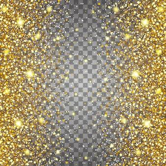 ゴールドグリッターの豪華な豪華なデザインの背景を飛んでいる部品の効果。明るい灰色の背景。スターダストが透明な背景で爆発を起こす